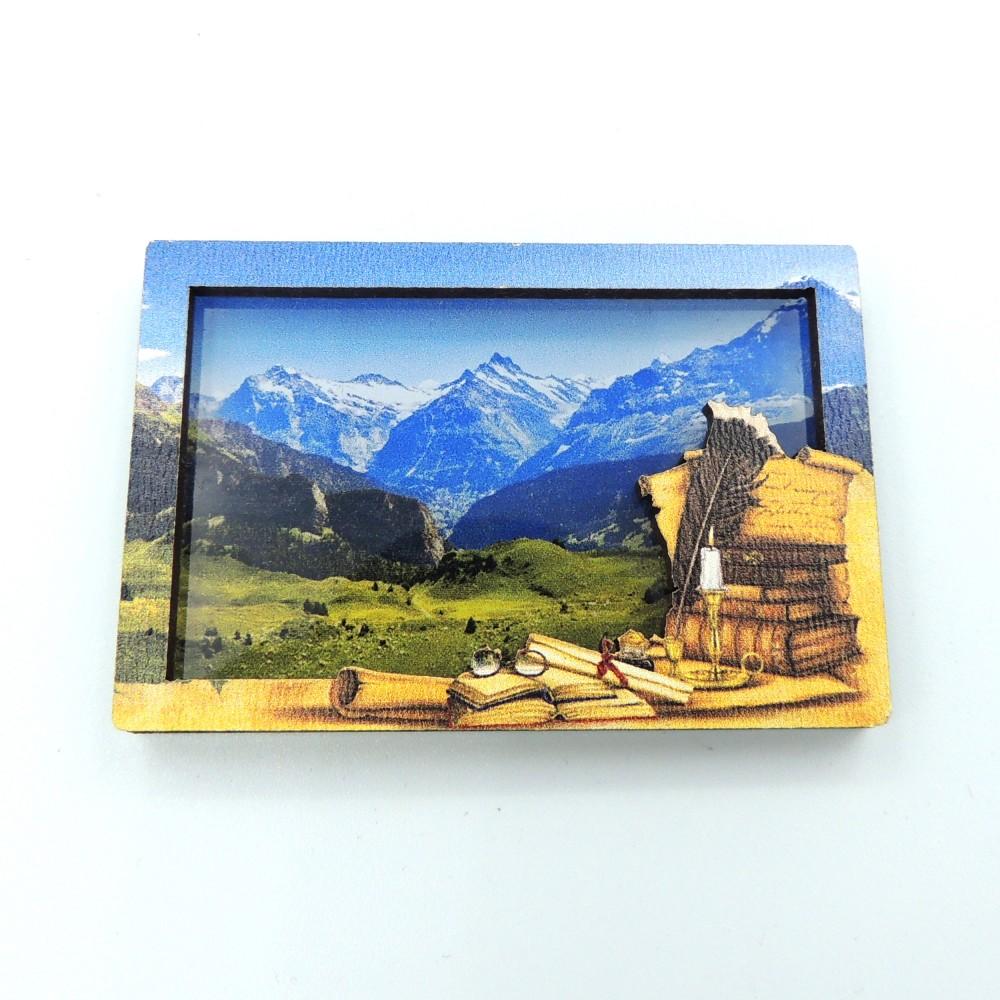 Мини деревянно-акриловый двухслойный магнит 3D под заказ