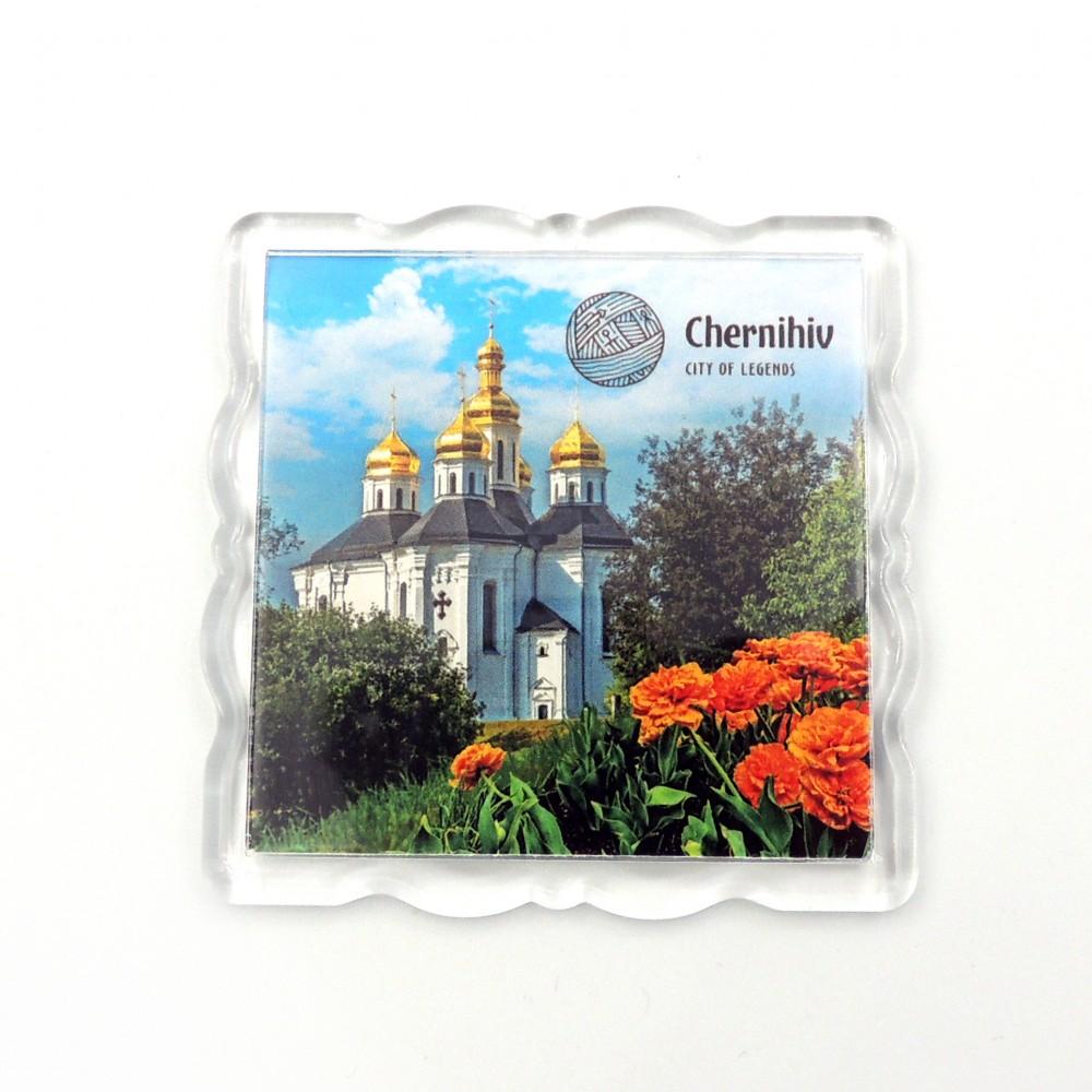 Акриловый магнит Чернигов Екатерининская церковь и тюльпаны