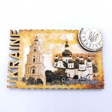 Магніт дерев'яний ретро марка Чернігів Троїцький монастир