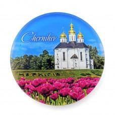 Магнит обратной печати Чернигов Екатерининская церковь круг