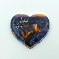 Керамический магнит мини сердце Львовская ратуша