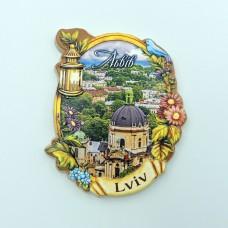 Керамический магнит винтажная рамка Львов Доминиканский собор