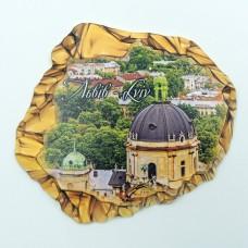 Керамический магнит камень Львов Доминиканский собор