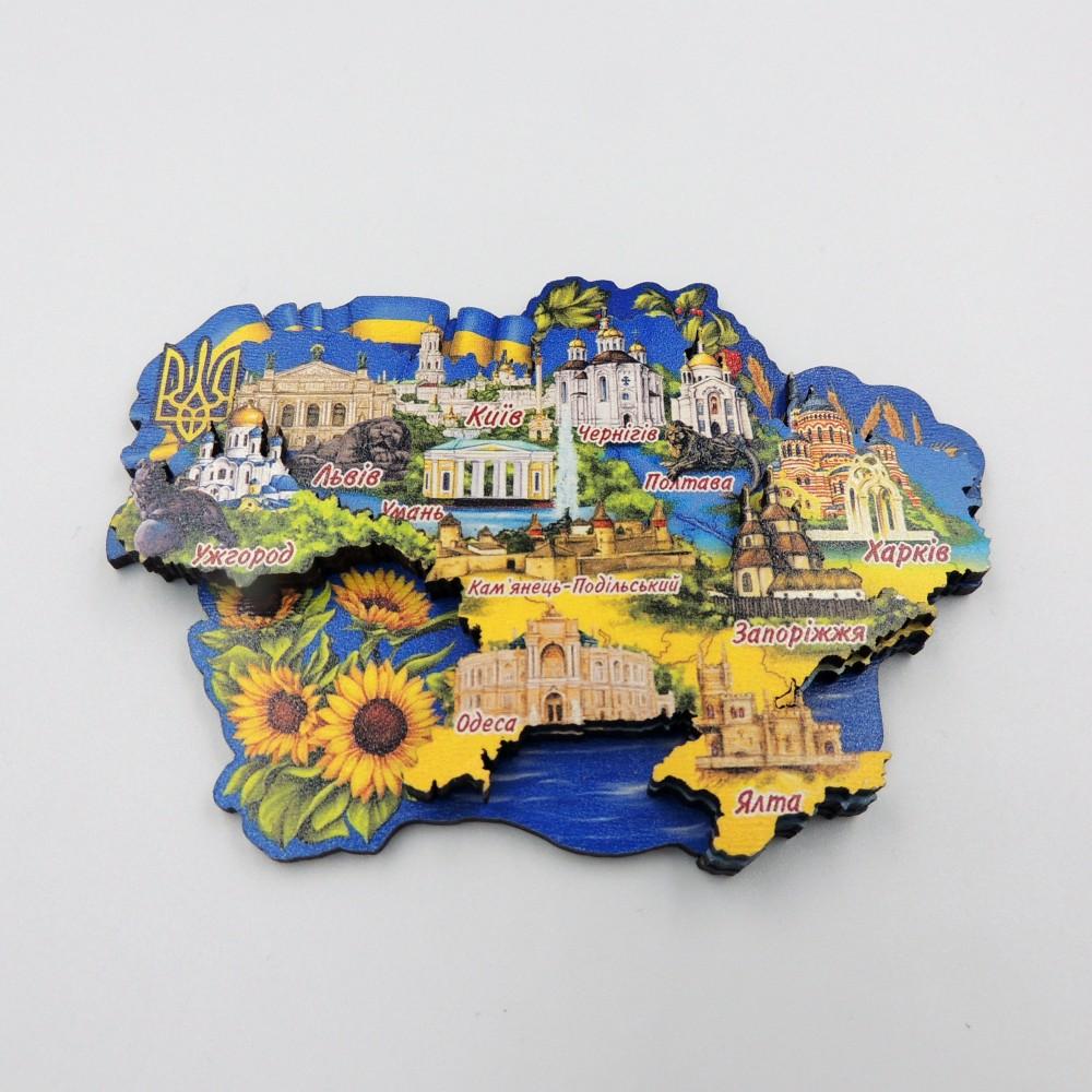 Магнит трехслойный деревянная карта Украина