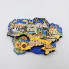 Магніт тришаровий дерев'яна карта Україна