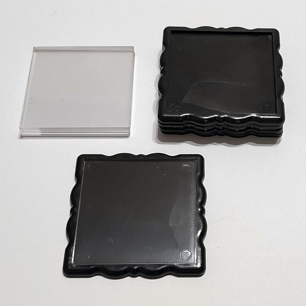 Акриловая заготовка квадрат Фигурная рамка 65*65 мм (чорная)