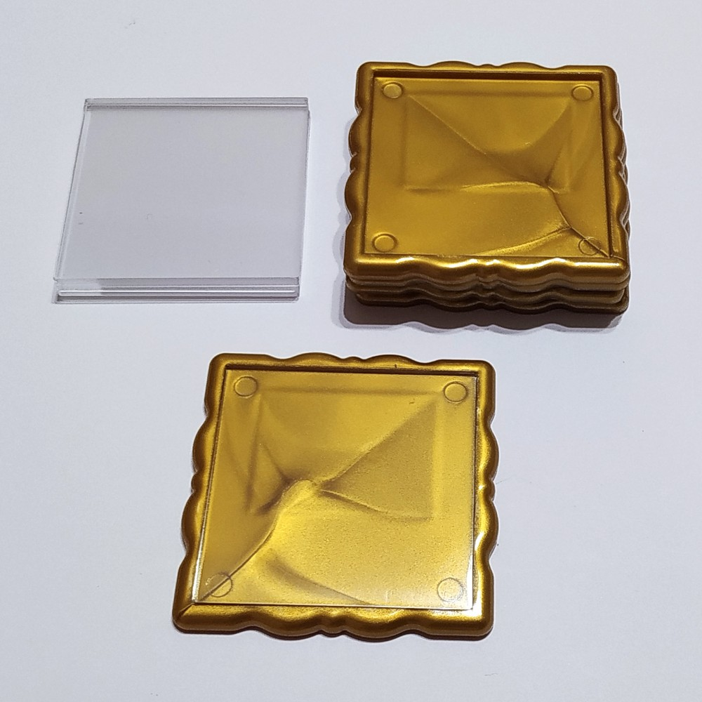 Акриловая заготовка квадрат Фигурная рамка 65*65 мм (золотистая)