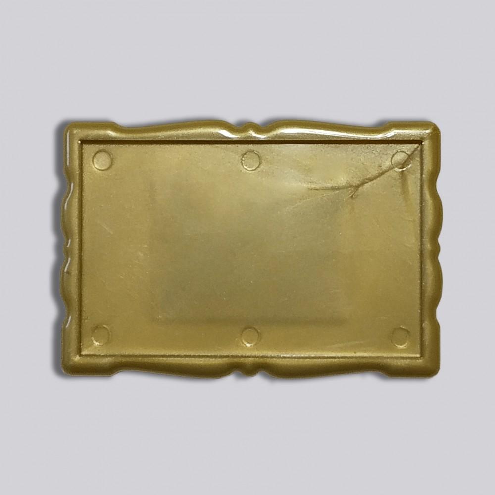 Прямоугольный акриловый магнитик Фигурная рамка 78*52 мм (золотистый)