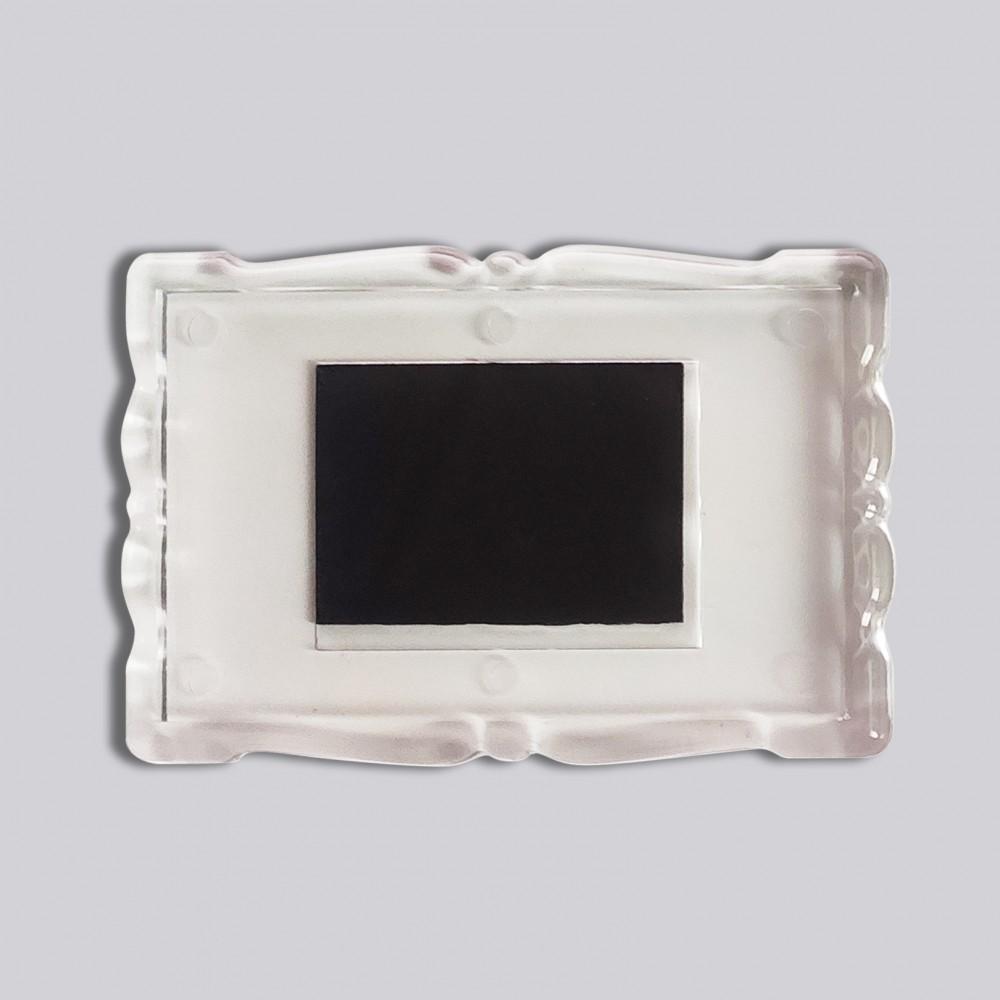 Прямоугольный акриловый магнитик Фигурная рамка 78*52 мм (прозрачный)