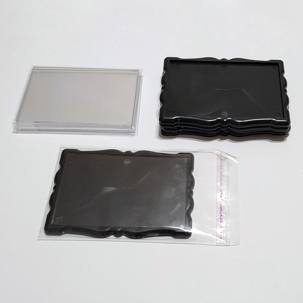 Заготовка для магнита акриловая Фигурная рамка 92*65 мм (черная)