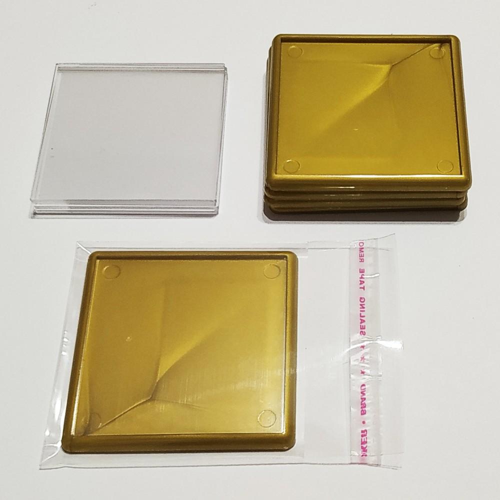 Квадратний акриловий магнітик 65*65 мм (золотистий)