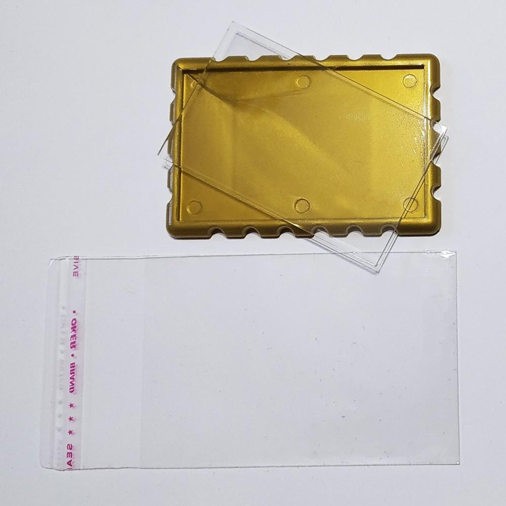 Акриловая заготовка прямоугольная Марка 78*52 мм (золотистая)