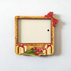 Деревянный магнит под полиграфическую вставку Праздничная коробка
