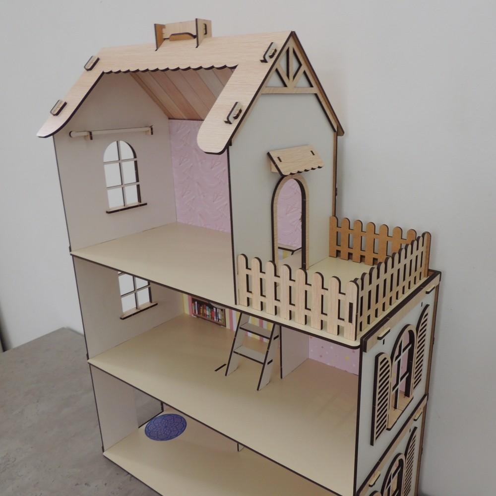 Деревянный домик для кукол из фанеры большой