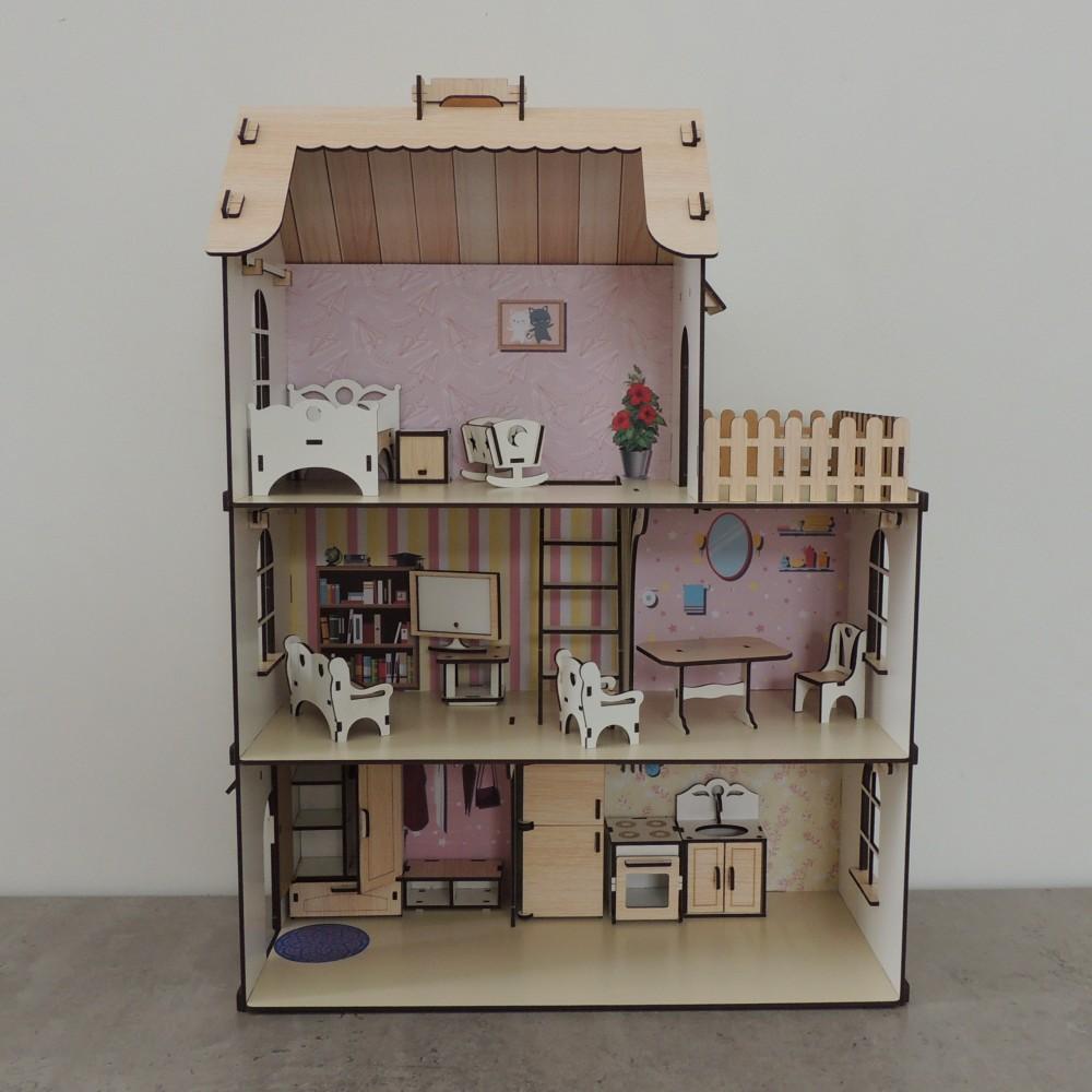 Ляльковий будинок з дерева для ляльок ЛОЛ з набором меблів