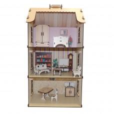 Деревянный кукольный домик с малым набором мебели