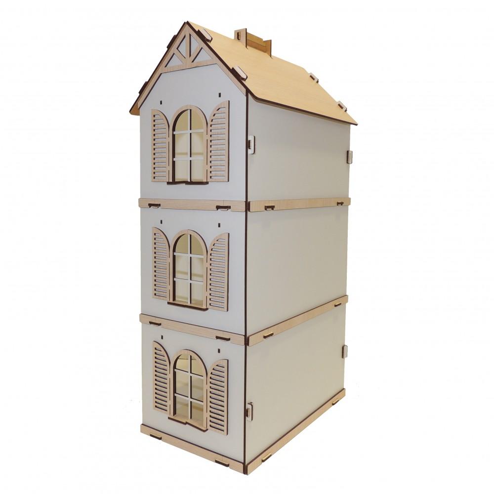 Дерев'яний ляльковий будинок з малим набором меблів