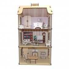 Ляльковий будиночок з дерева з великим набором меблів
