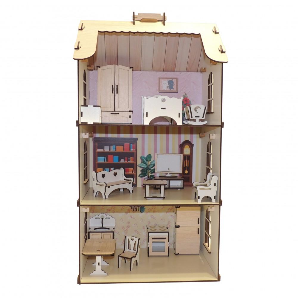 Кукольный домик из дерева с большим набором мебели