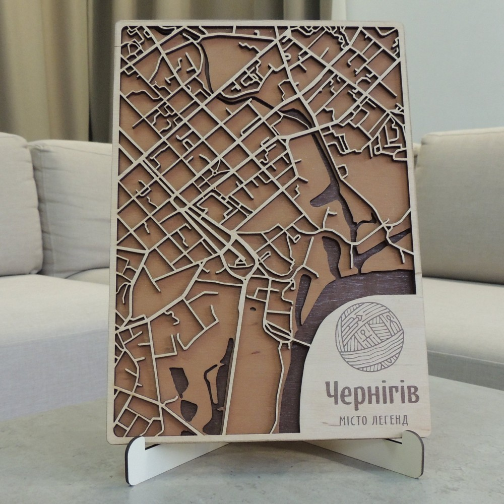 Дерев'яна схема декоративна мапа Чернігова на стіну з фанери інтер'єрна А4