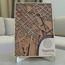 Деревянная схема декоративная карта Чернигова на стену из фанеры интерьерная А4