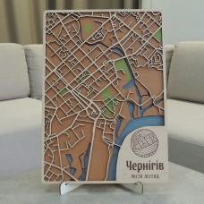 Настенная объемная 3D-карта план города и улиц Чернигова из дерева с подставкой