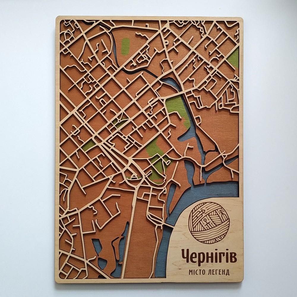 Деревянная схема декоративная карта Чернигова на стену из фанеры интерьерная