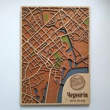 Дерев'яна схема декоративна мапа Чернігова на стіну з фанери інтер'єрна