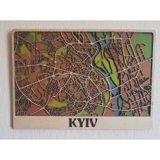 Деревянная схема декоративная карта Киева на стену из фанеры интерьерная