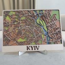 Настенная объемная 3D-карта план города и улиц Киева из дерева с подставкой