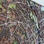 Настінна об'ємна 3D-мапа план міста та вулиць Києва з дерева з підставкою