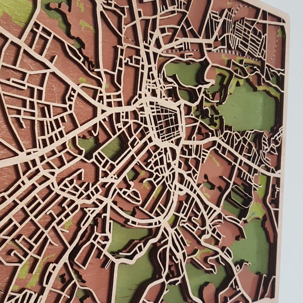 Дерев'яна схема декоративна мапа Львова на стіну з фанери інтер'єрна