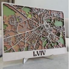 Настінна об'ємна 3D-мапа план міста та вулиць Львова з дерева з підставкою