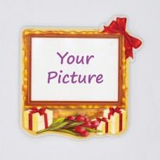 Керамический магнит под вставку Подарок с тюльпанами с изображением