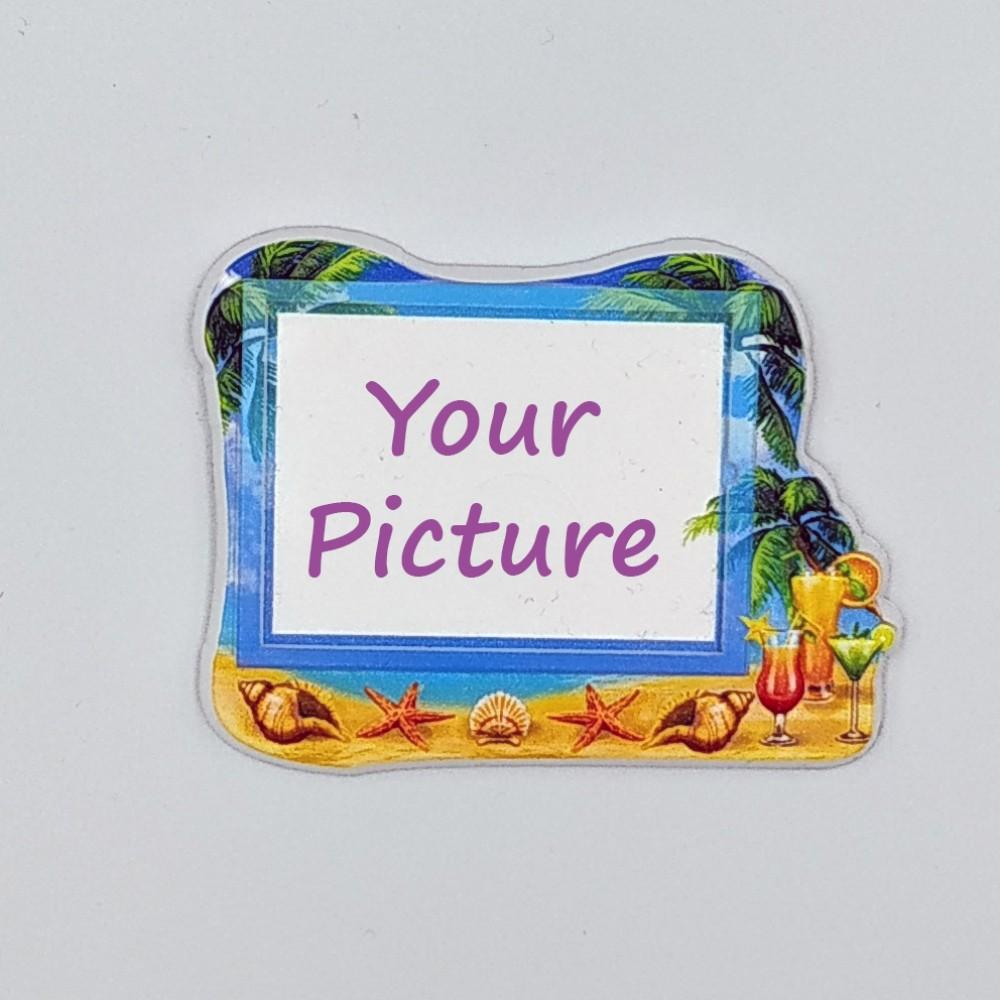 Керамический магнит под вставку Пляж и коктейли с изображением