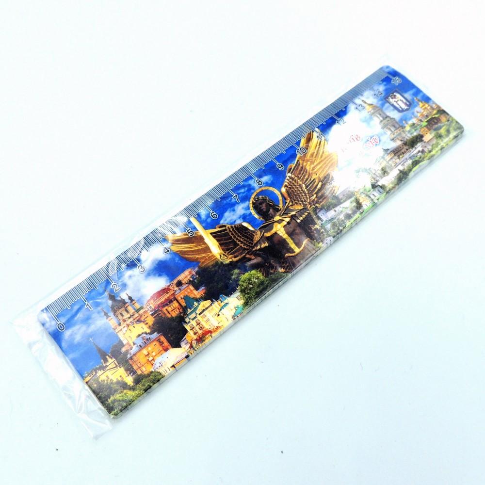 Сувенірна лінійка 15 см широка пластикова Київ