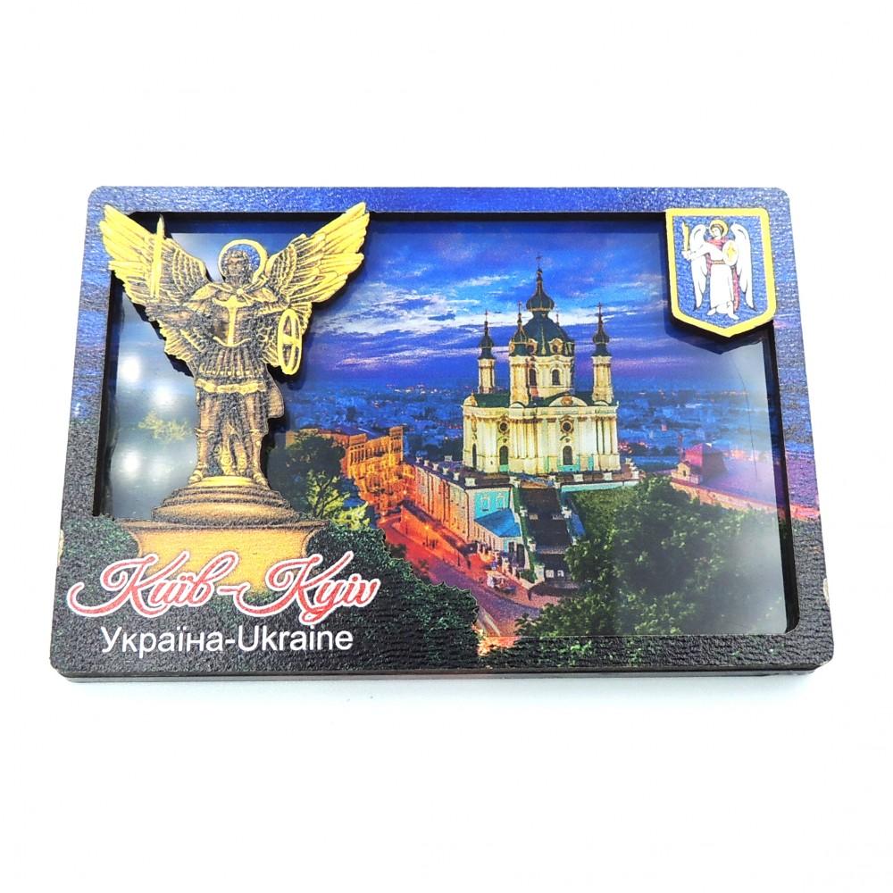 Слойка дерев'яно-акрилова Вид на Андріївську Церкву Київ