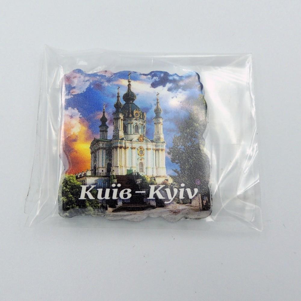 Міні керамічний магніт Квадрат різьблений Церква