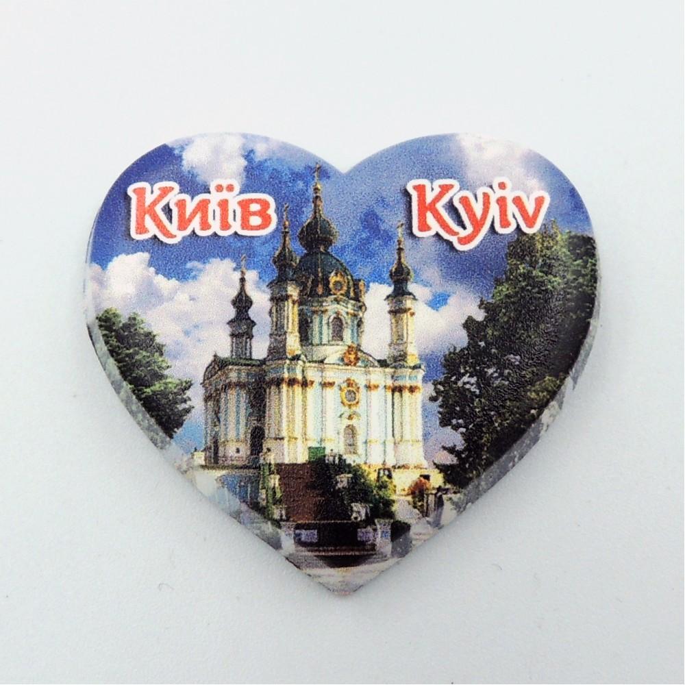 Міні керамічний магніт Серце Церква
