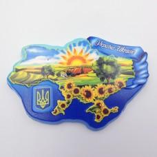 Керамический магнит Украина Карта с подсолнухами