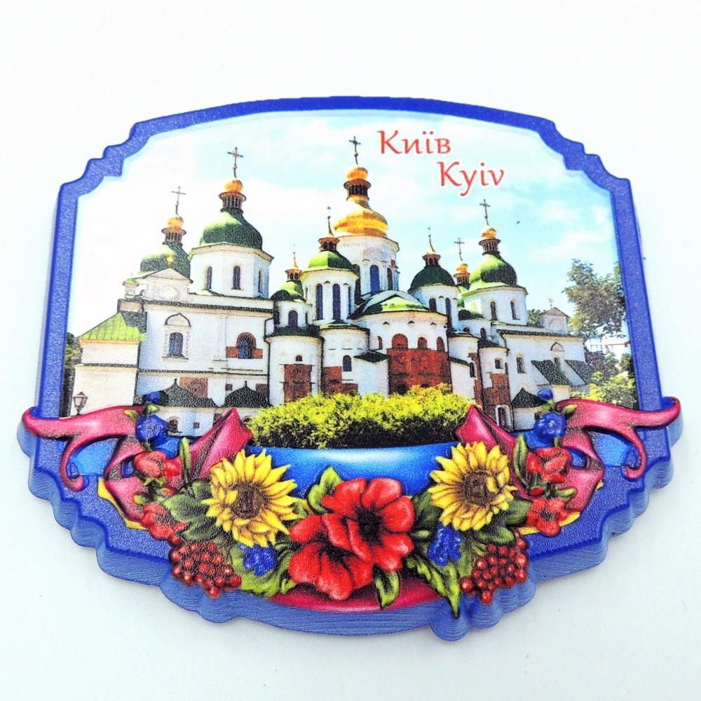 Керамический магнит Рамка с цветами Украина