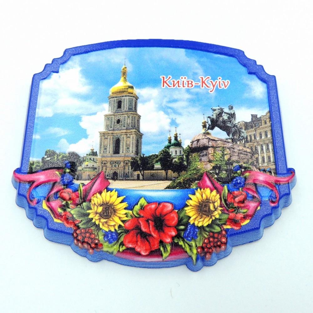 Керамический магнит Рамка с цветами Богдан Хмельницкий