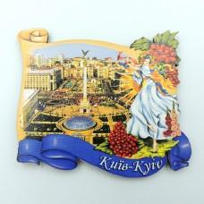 Деревянный магнит Майдан Незалежности Киев калина