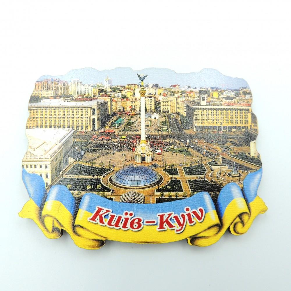 Деревянный магнит Киев Майдан лента