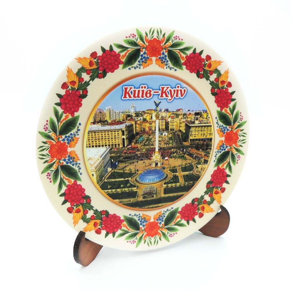Сувенірна тарілка з платформою 110 мм Київ №6
