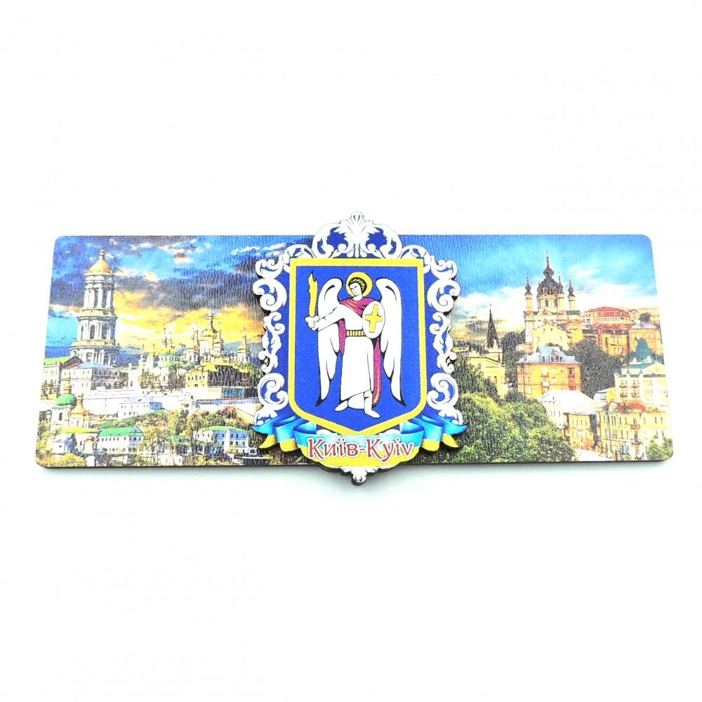 Магніт дерев'яний зі сріблом герб панорама Києва
