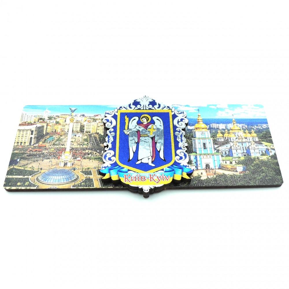 Магнит деревянный с серебром герб виды Киева