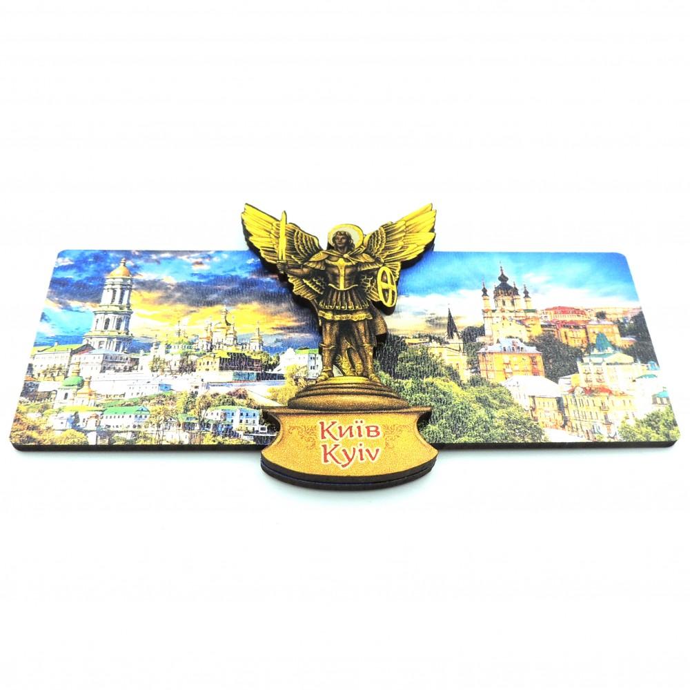 Магніт дерев'яний з золотом панорама Києва