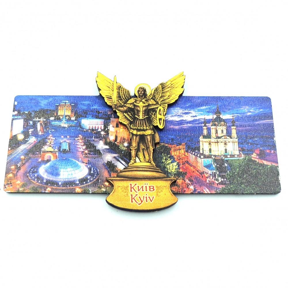 Магнит деревянный с золотом вечерний Киев