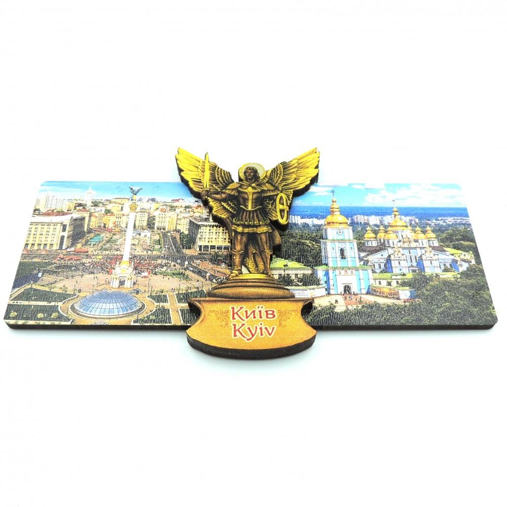 Магнит деревянный с золотом виды Киева